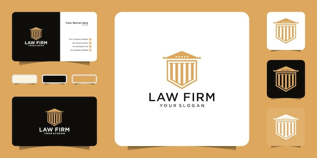 Шаблон логотипа безопасности здания суда и дизайн визитной карточки