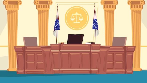 フラット漫画デザインの法廷インテリアコンセプト。巨大なテーブル、秘書の場所、旗、柱、正義のスケールのサインで職場を判断します。法学。ベクトルイラスト水平背景