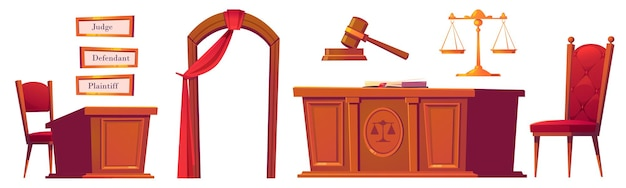 Courtroom objects set, wooden gavel, desk with scales and chairs, arch with red curtain, and plates for judge