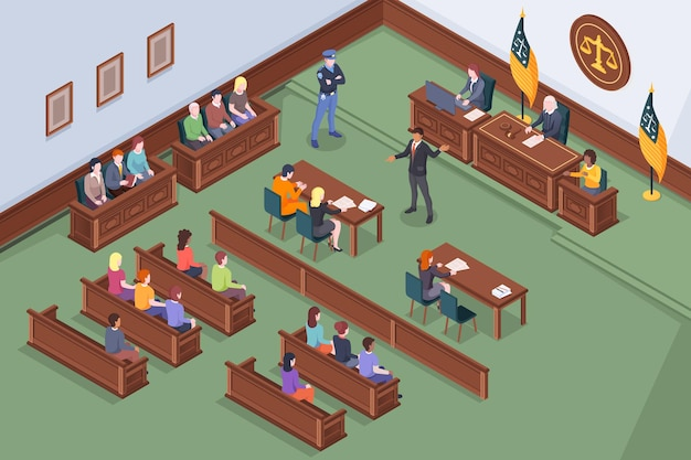 Courtroom process in court isometric , law and justice, judge, lawyer and prosecutor at court hearing. courtroom legal session with attorney, accused and jury at courthouse legal lawsuit