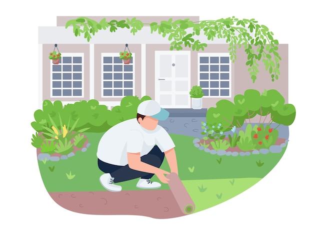 Озеленение двора, уход за газонами, 2d-баннер, постер. человек с ролл, садовник плоских персонажей на фоне мультфильма. озеленение двора, борьба с сорняками для печати патчей, красочные веб-элементы