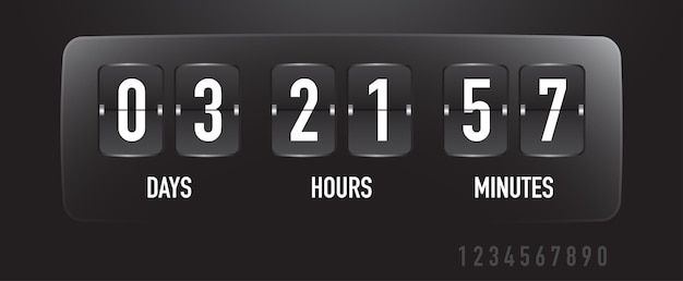 Coutdown sale timer flip board with scoreboard of days hours minutes time remaining template
