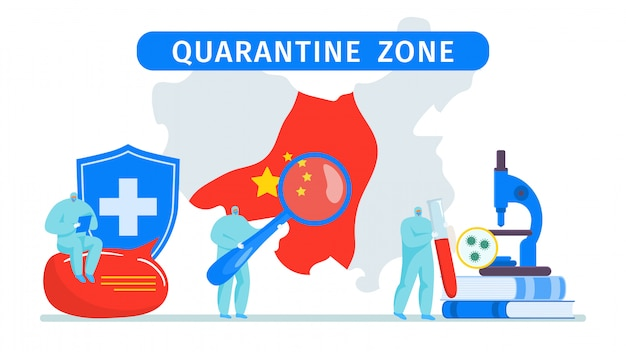 マスクと制服と中国の都市のイラストで医師ミニ人々による中国の感染コロナウイルスcov医療制限の検疫ゾーン。