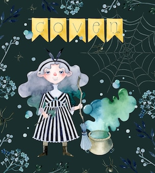Coven witch with cauldron watercolor poster template