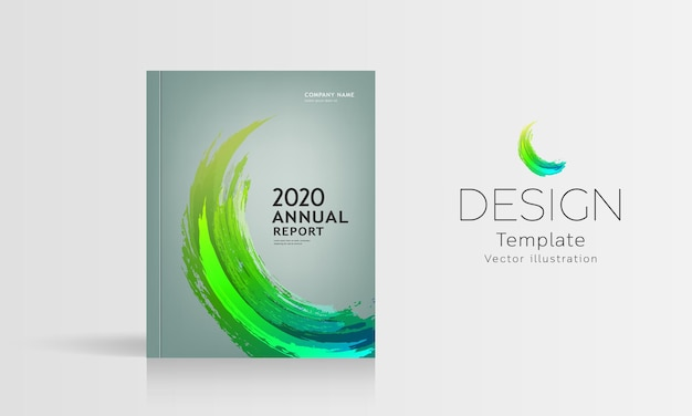 Обложка годового отчета кисть зеленый дизайн.