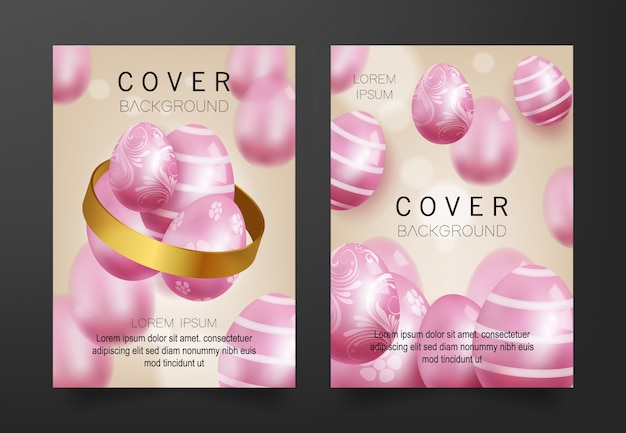 Cover background with 3d pink eggs pattern