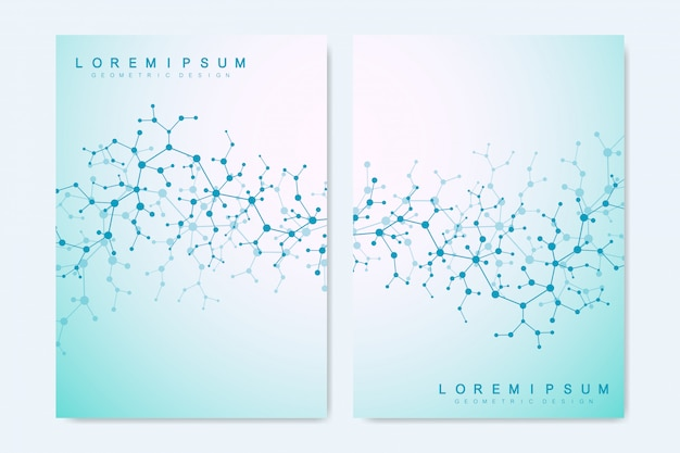 Обложка фон со структурой молекулы. будущий геометрический шаблон. наука, медицина, технология фона.