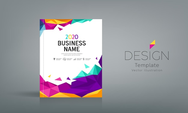 Cover book business name geometric abstract colorful on white background design vector illustration
