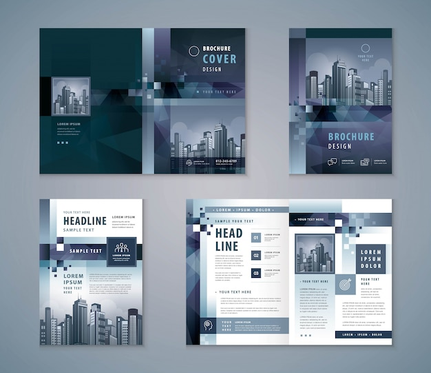 Cover book design set, abstract gray geometric pixel background template brochures