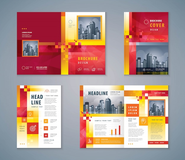 Cover book design set, abstract red geometric pixel background template brochures