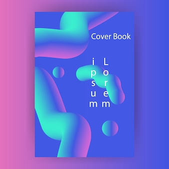Cover book gradient with fluid futuristic free vector