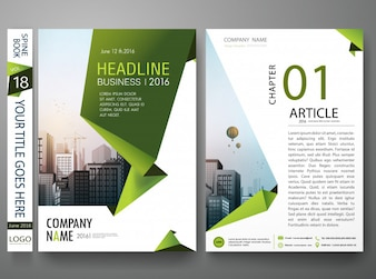 Cover book portfolio by abstract green shape design.