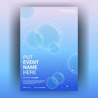 Cover book template sea with bubble soap light free vector