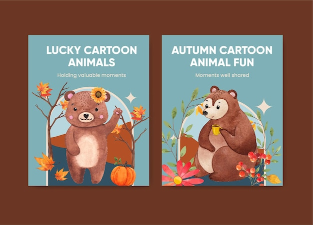 Cover book template with autumn animal in watercolor style