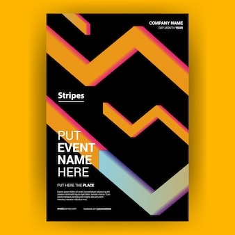 Cover book yellow with stripes geometric arrow free vector