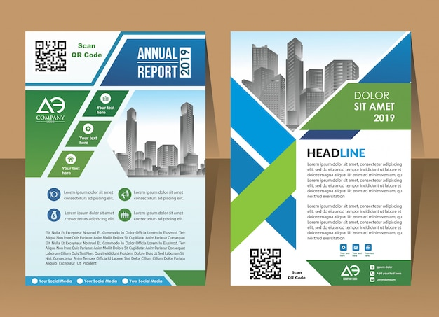 Cover brochure flyer in a4 with colourful geometric shapes