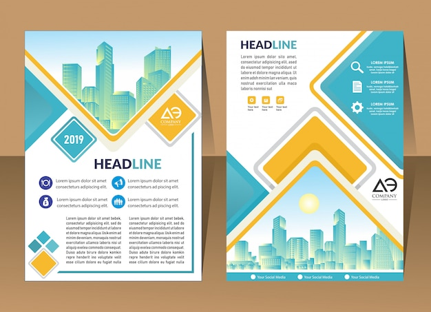 Cover brochure layout with shape vector illustration