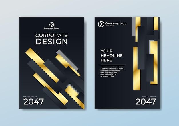 金色の線で濃い青と白の背景にパンフレットテンプレートのヘッダーとフッターの多角形パターンの豪華なスタイルをカバーします。レターヘッド、ポスター、バナーweb、印刷物などに使用できます