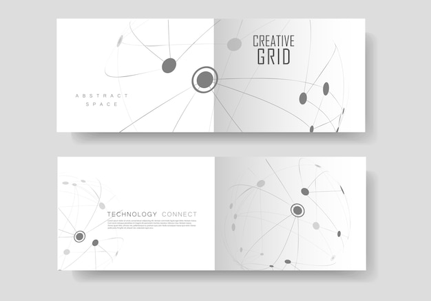 Cover brochure with connected line and dots.