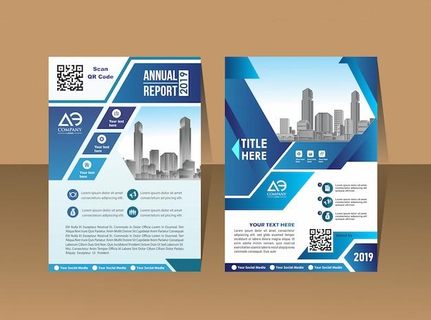 カバーデザイン年次報告書雑誌のチラシまたは青い幾何学的形状を持つa4の小冊子