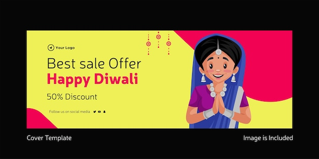 Cover design of best sale offer happy diwali indian festival template