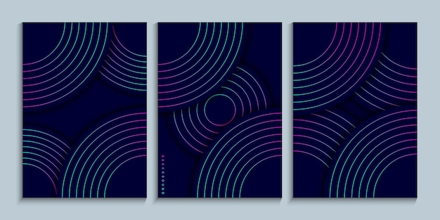 Cover design collection with neon gradient linear circles