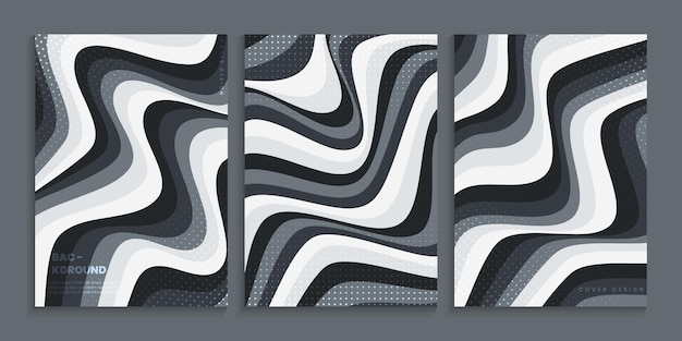 Cover design collection with wavy shapes in gray gradient