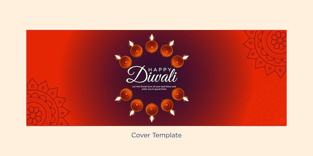 Cover design of happy diwali indian festival template