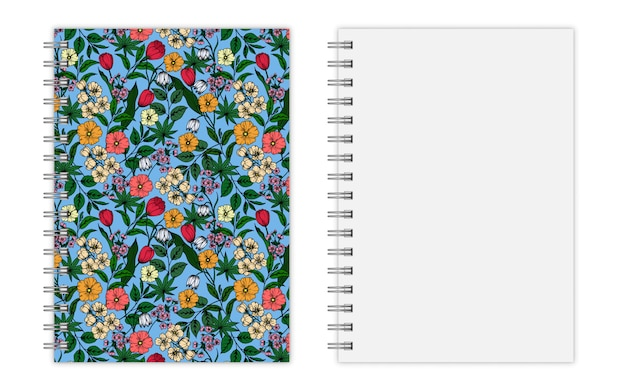 Cover design of notebook with floral pattern