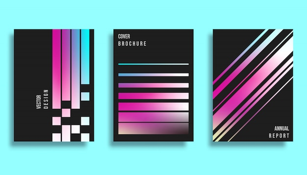 Cover design template - gradient lines background
