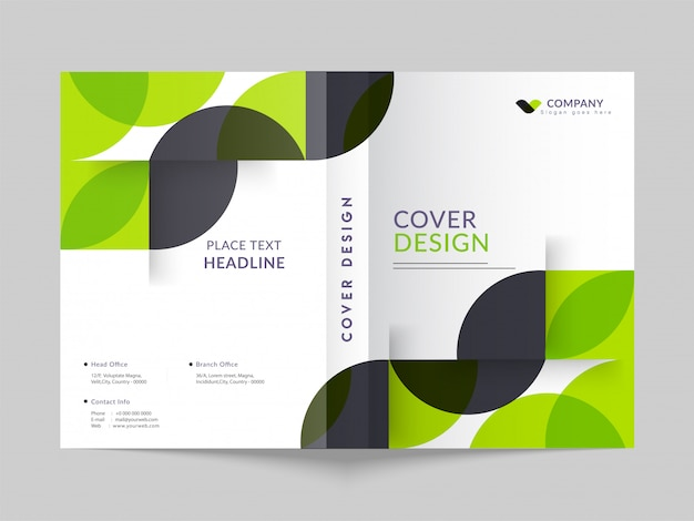 Cover design or template layout of business annual report, magaz