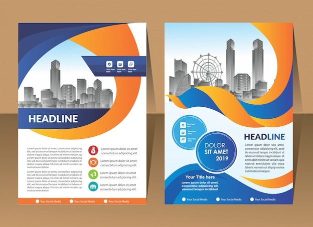 Cover design template modern annual report