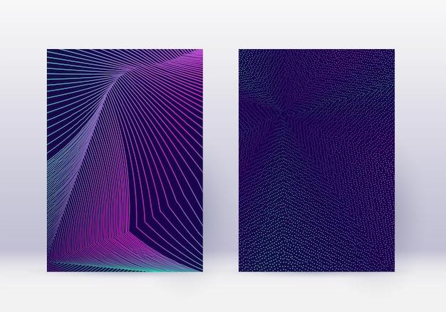 カバーデザインテンプレートセット。抽象的な線のモダンなパンフレットのレイアウト。紺色の背景にネオンの鮮やかなハーフトーンのグラデーション。妖艶なパンフレット、カタログ、ポスター、本など。