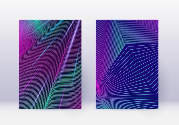 カバーデザインテンプレートセット。抽象的な線のモダンなパンフレットのレイアウト。紺色の背景にネオンの鮮やかなハーフトーンのグラデーション。優れたパンフレット、カタログ、ポスター、本など。