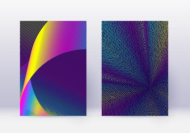 Cover design template set. abstract lines modern brochure layout. rainbow vibrant halftone gradients on dark blue background. pleasant brochure, catalog, poster, book etc.