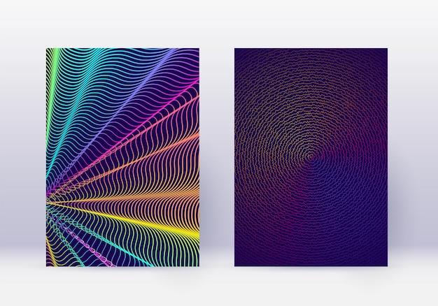 カバーデザインテンプレートセット。抽象的な線のモダンなパンフレットのレイアウト。濃紺の背景に虹の鮮やかなハーフトーンのグラデーション。圧倒的なパンフレット、カタログ、ポスター、本など。