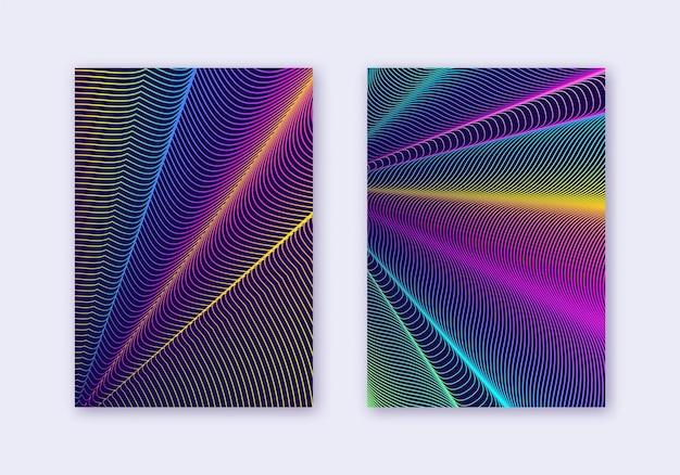カバーデザインテンプレートセット。抽象的な線のモダンなパンフレットのレイアウト。濃紺の背景に虹の鮮やかなハーフトーンのグラデーション。強力なパンフレット、カタログ、ポスター、本など。