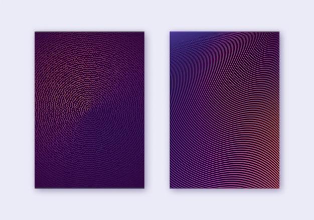 カバーデザインテンプレートセット。抽象的な線のモダンなパンフレットのレイアウト。暗い背景に紫の鮮やかなハーフトーンのグラデーション。珍しいパンフレット、カタログ、ポスター、本など。