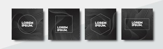 装飾カタログの黒い線でモダンなグラデーションスタイルのカバーデザインテンプレートセット正方形