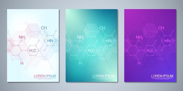 抽象的な化学の背景と化学式でデザインをカバーします。科学とイノベーション技術の概念とアイデア。