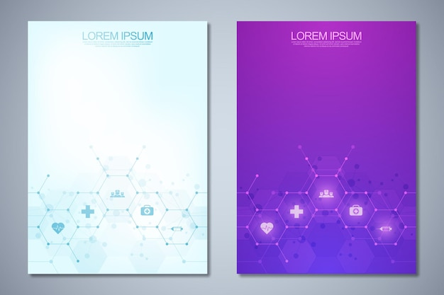 Cover design with abstract chemistry background and chemical formulas. concept and idea for science and innovation technology.