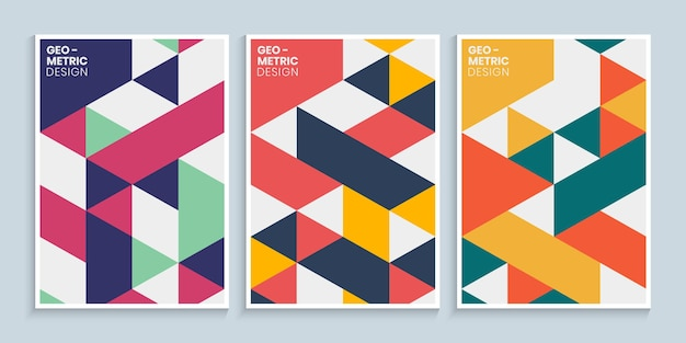 추상적인 다채로운 기하학적 모양으로 표지 디자인
