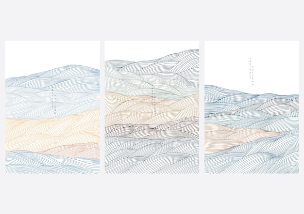 Cover design with abstract landscape. japanese wave in oriental style.