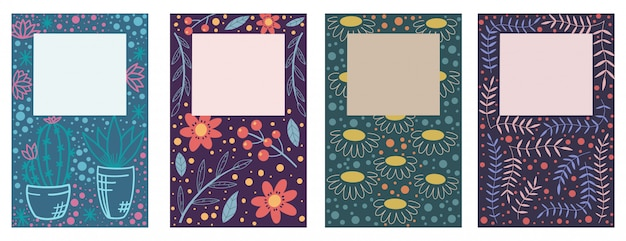 Cover design with floral pattern. hand drawn creative flowers. colorful artistic background with blossom.