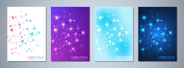Cover design with molecules background. abstract geometric background of connected lines and dots. science and technology concept.