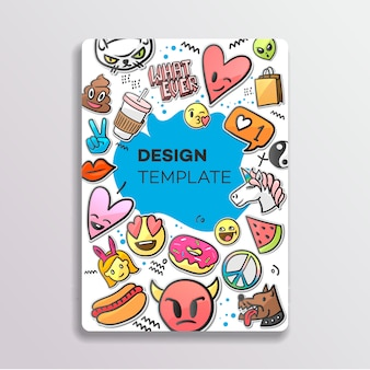 Of cover design with patches pattern. hand drawn creative stickers, illustration.