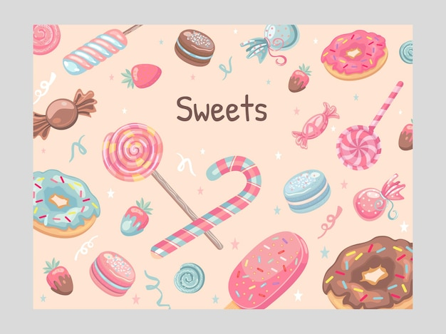 Cover design with sweets. ice cream, candies, donuts, macaroons, lollypops  illustrations
