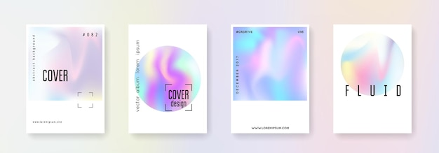 Cover fluid set. abstract backgrounds. multicolor cover fluid with gradient mesh. 90s, 80s retro style. iridescent graphic template for book, annual, mobile interface, web app.
