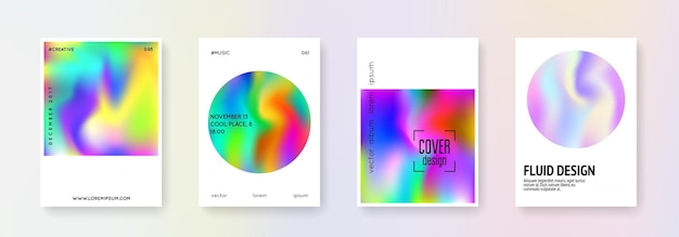 Cover fluid set. abstract backgrounds. retro cover fluid with gradient mesh. 90s, 80s retro style. iridescent graphic template for brochure, banner, wallpaper, mobile screen