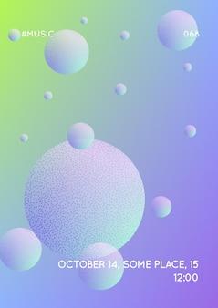 Покройте жидкость круглыми формами. градиентные круги на голографическом фоне. современный хипстерский шаблон для плакатов, баннеров, листовок, отчета, брошюры. минимальная покрывающая жидкость ярких неоновых цветов.